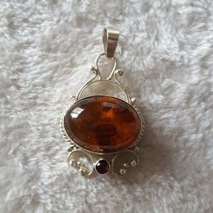 Amber & silver necklace pendant